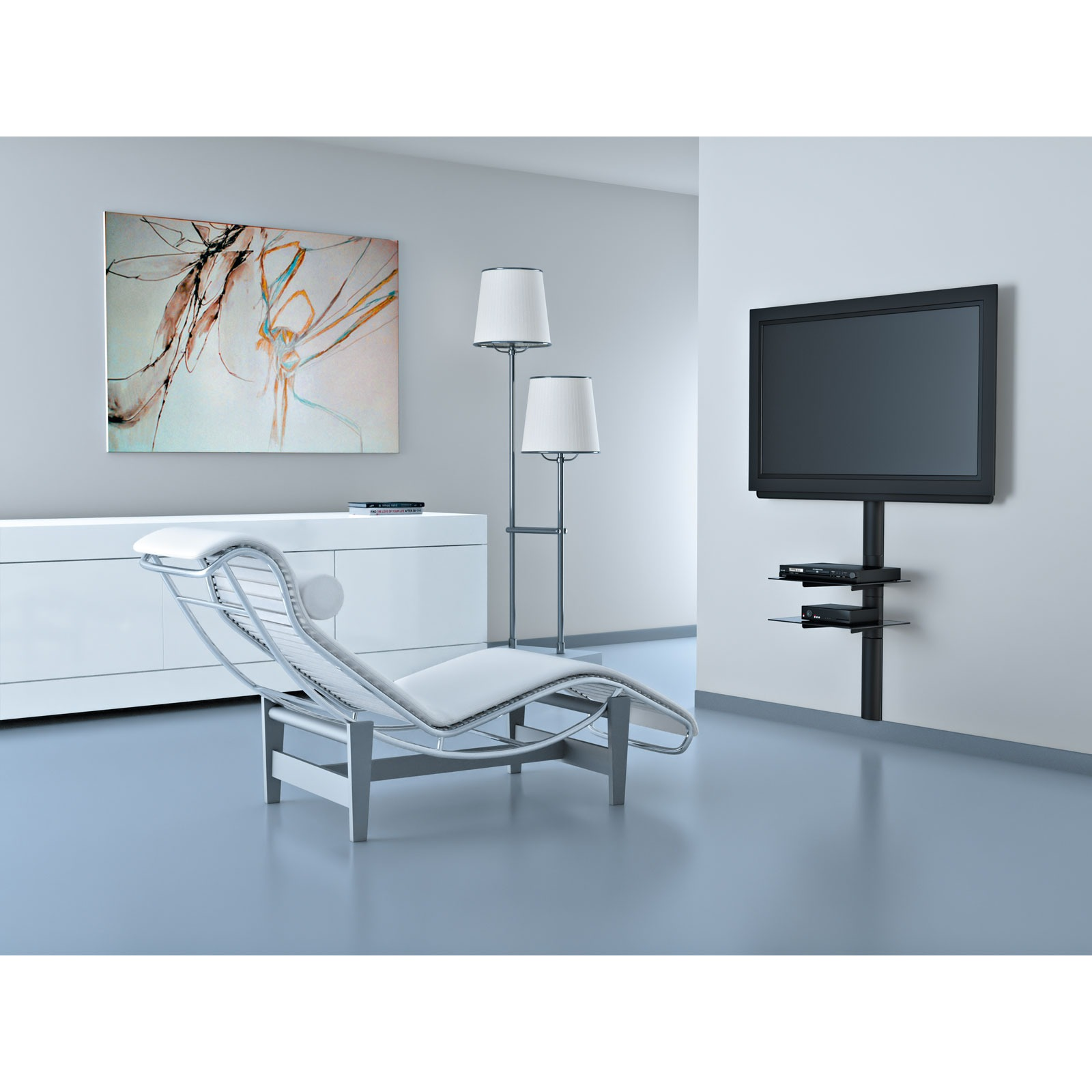 Meliconi line cover support mural tv meliconi sur ldlc for Meuble mural fin