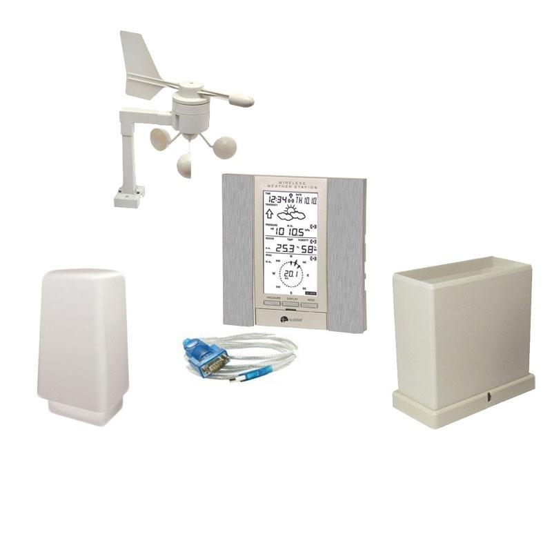 Station Météo La Crosse Technology WS2355 Argent Station météo avec sonde extérieure, pluviomètre, anémomètre et gestion informatique