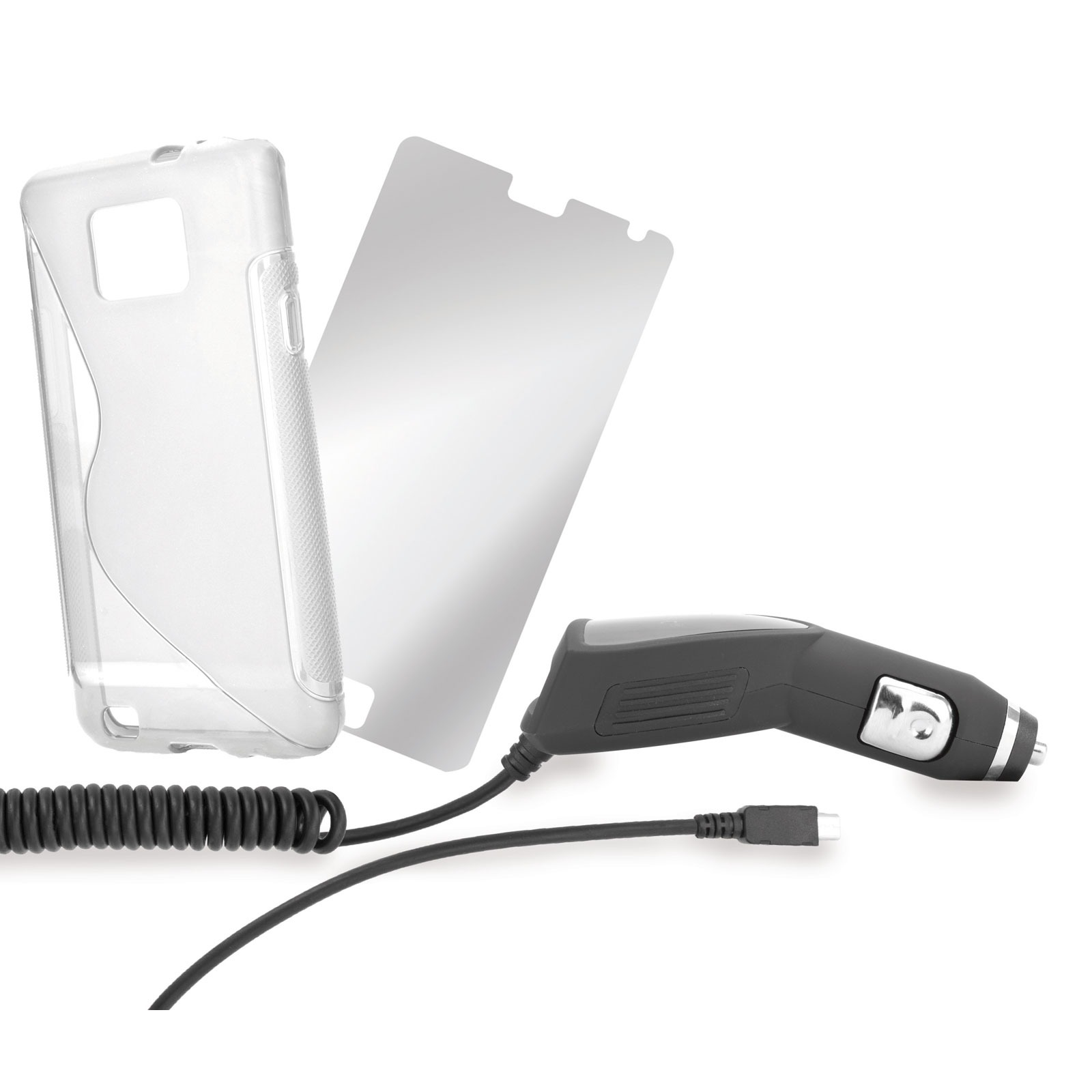 Pack accessoires xqisit Galaxy SII Starterset Kit Chargeur voiture + TPU Sleeve + Protection d'écran pour Samsung Galaxy SII