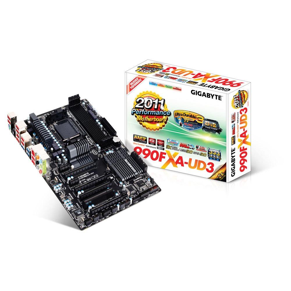 Carte mère Gigabyte GA-990FXA-UD3  Carte mère ATX Socket AM3+ AMD 990FX - SATA 6 Gbps - USB 3.0 - 4x PCI-Express 2.0 16x