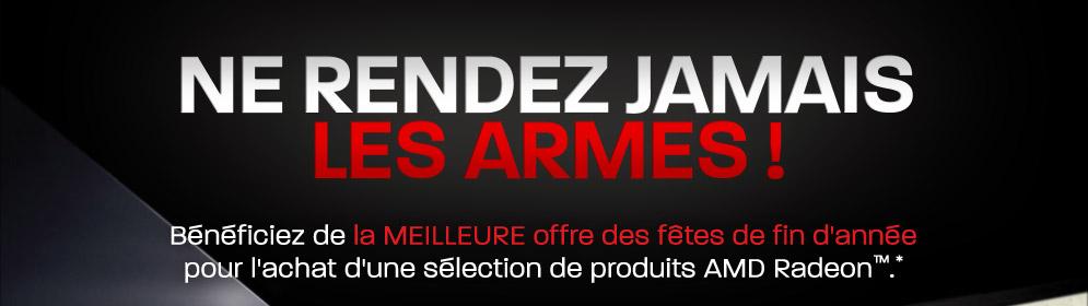 Ne rendez jamais les armes ! Bénéficiez de la meilleure offre des fêtes de fin d'année pour l'achat d'une sélection de produits AMD Radeon™.*