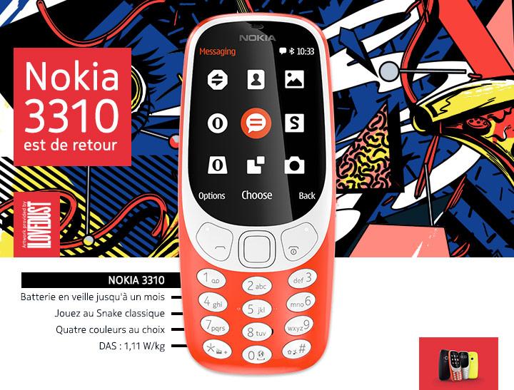 Nokia 3310 - Batterie en veille jusqu'à un mois  - Jouez au Snake classique  - Quatre couleurs au choix  - DAS : 1,11 W/kg