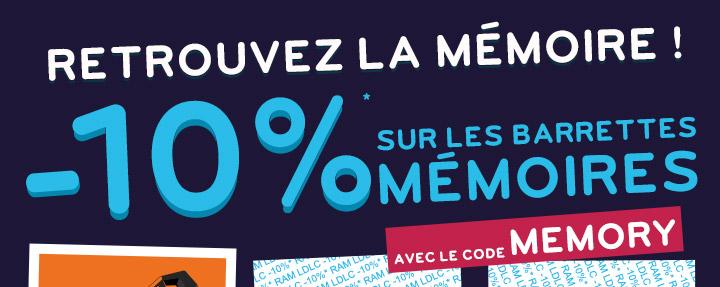 Retrouvez la mémoire ! | -10%* sur toutes les barrettes mémoires avec le code MEMORY