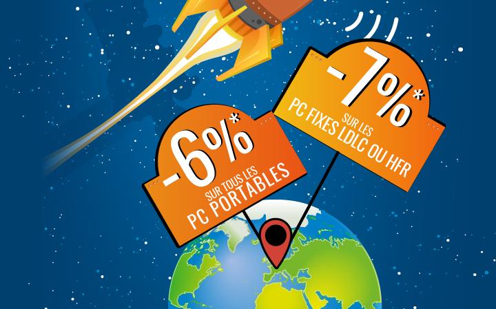 6% sur tous les PC portables (toutes marques, apple inclus), 7% sur les PC fixes LDLC ou HFR avec le code MISSION
