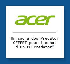 ACER - Un sac à dos Predator OFFERT pour l'achat d'un PC predator**