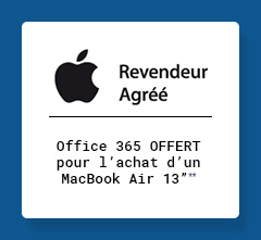 APPLE - Office 365 OFFERT pour l'achat d'un Macbook Air 13''**