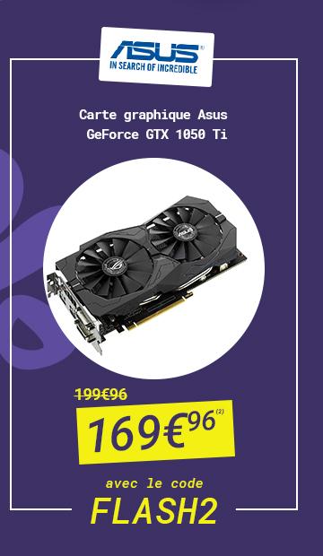 ASUS - Carte graphique Geforce GTX 1050 Ti à 169€96 au lieu de 199€96 avec le code FLASH 2