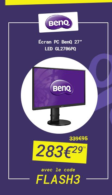 BENQ - Ecran PC BenQ 27' LED GL2706PQ à 283€29 au lieu de 339€95 avec le code FLASH 3