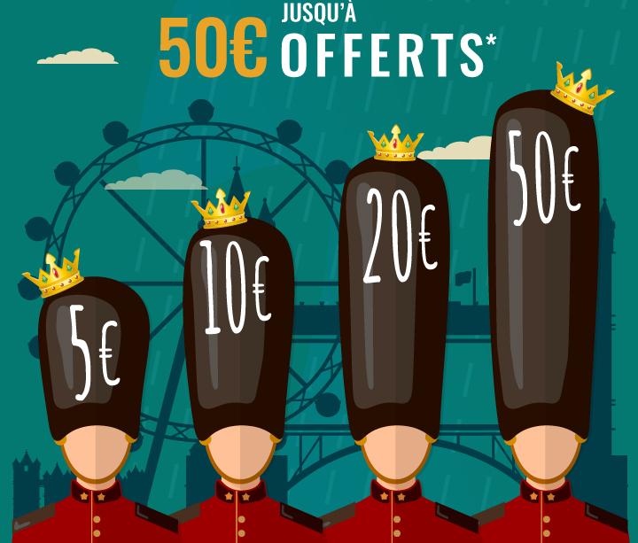 5€ offerts* dès 80€ d'achat avec le code GOD; 10€ offerts* dès 150€ d'achat avec le code SAVE; 20€ offerts* dès 300€ d'achat avec le code THE; 50€ offerts* dès 700€ d'achat avec le code QUEEN;