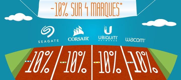 -10%* sur 4 marques, -10%* sur Seagate, -10%* sur Corsair,-10%* sur Ubiquity,-10%* sur Wacom avec le code COURSE