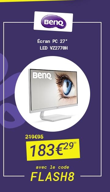 BenQ - Ecran PC 27'' LED VZ2770H à 183€29 au lieu de 219€95 avec le code FLASH 8