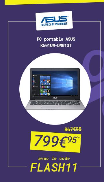 ASUS - PC portable ASUS K501UW-DM013T à 799?95 au lieu de 867?95 avec le code FLASH 11