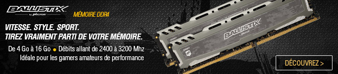 BALLISTIX | Mémoire DDR4 de 4 à 16 Go. Débit allant de 2800 à 3200 MHz. Idéale pour les gamers amateurs de performance. Découvrez >
