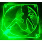 Grille éclairée Fille pour ventilateur 80 mm (vert)