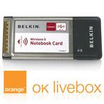 Belkin carte Wi-Fi G (54 Mbps) sur port PCMCIA