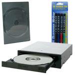 Pioneer DVR-110D - DVD(+/-)RW 16/8/16/6x DL(+/-) 8/8x CD-RW 40/32/40x IDE Noir (bulk) + 5 boîtes DVD + Stylos
