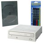 Pioneer DVR-110D - DVD(+/-)RW 16/8/16/6x DL(+/-) 8/8x CD-RW 40/32/40x IDE Beige (bulk) + 5 boîtes DVD + Stylos