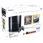 Sony PlayStation 3 Pack Gran Turismo 5 Prologue + GTA IV (version avec disque dur 80 Go - 2 ports USB - 1 manettes DualShock 3)