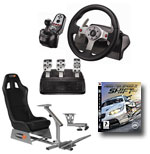 Playseats EVO - Siège de simulation de conduite (noir) + Logitech G25 Racing Wheel  + Support de levier de vitesse + jeu PS3 Need for Speed SHIFT