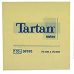 Tartan Bloc de 100 feuillets de notes jaunes lignées 76 x 76 mm