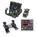 Manche avec manette des gaz + palonnier + afficheur de fréquences radio + panneau de contrôle + panneau de contrôle du pilotage automatique + 6 écrans de contrôle LCD 3.5'' pour simulation aérienne