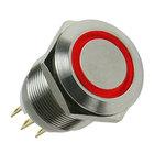 Lamptron bouton 19 mm argent à LED rouge