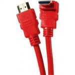 Câble HDMI 1.4 Ethernet Channel Coudé mâle/mâle Rouge - (1.5 mètre)