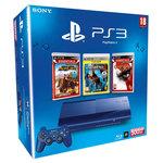Console Playstation 3 Ultra Slim Bleue 500 Go + trois jeux