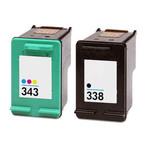 Lot de 2 cartouches haute capacité compatibles HP 338 (C8765EE) / HP 343 (C8766EE)