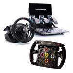 Ensemble de pilotage avec volant à retour de force et pédalier 3 pièces ajustable + volant de remplacement type Formule 1 (compatible PC et PlayStation 3)