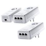 Pack de 3 adaptateurs CPL 500 Mbps Wi-Fi N avec prise électrique