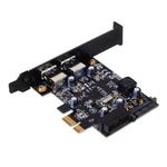 Carte contrôleur PCI Express 2.0 1x à 4 ports USB 3.0 (2 externes + 2 internes) avec connecteur d'alimentation