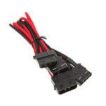 Câble d'alimentation gainé - Molex vers 3x Molex - 55 cm (coloris rouge/noir)