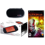 Console PSP Street coloris noir + God of War : Chains of Olympus +  Etui de transport pour PSP