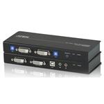 Système d'extension KVM Dual View DVI USB avec audio et RS-232 + compensation de signal