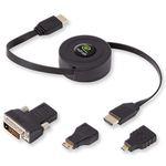 Câble HDMI 1.4 mâle/mâle rétractable avec adaptateurs mini HDMI, micro HDMI et DVI (1.52 mètre)