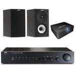 Amplificateur stéréo intégré 2 x 40 W + Enceinte bibliothèque + Adaptateur Bluetooth APTX pour conversion d'ampli Hi-Fi ou Home-Cinéma en système audio sans fil