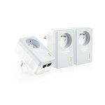 Pack de 3 adaptateurs CPL HomePlug AV 500 Mbps 2 ports + prise électrique