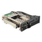 """Rack sécurisé avec 2 ports USB 3.0 pour disque dur 3,5"""" et 2.5"""" SATA I,II,III & SAS dans baie 5,25"""" (SSD ou HDD)"""