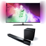 """Téléviseur LED 4K 3D 55"""" (140 cm) 16/9 - 3840 x 2160 pixels - Wi-Fi - DLNA - 600 Hz - 4 paires de lunettes 3D passive + Barre de son 2.1 avec caisson de basses sans fil"""