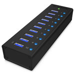 Hub 10 ports USB 3.0 dont un port de charge (coloris noir)