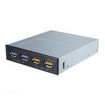 "Hub USB (2 ports USB 3.0 + 2 chargeurs USB) en façade dans baie 3.5"""