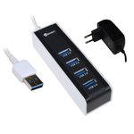 Concentrateur à 4 ports USB 3.0 avec alimentation secteur