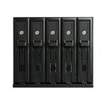 """Rack sécurisé en aluminium pour 5 disques durs 3,5"""" SATA I,II,III & SAS dans 3 baies 5,25"""" (SSD ou HDD)"""
