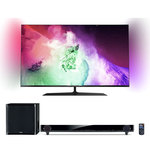 """Téléviseur LED 4K 3D 49"""" (124 cm) 16/9 - 3840 x 2160 pixels - TNT, Câble et Satellite HD - Wi-Fi - DLNA - Android - 600 Hz - Lunettes 3D passive + Barre de son"""