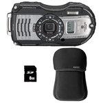 Appareil photo baroudeur 16 MP - Zoom optique grand-angle 4x - Vidéo Full HD - GPS et Boussole + Étui néoprène noir + Carte SHDC 16 Go