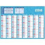 Calendrier 2 faces de 8 mois de septembre 2016 à décembre 2017 avec zones congés scolaires