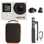 Caméra sportive 4K Ultra HD à mémoire flash avec Wi-Fi et Bluetooth + Fixation pour trépied + Mallette de rangement + Perche extensible