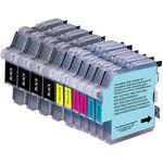 Pack de 10 cartouches d'encre compatible Brother LC-980 et LC-1100 (2 x cyan, 2 x magenta, 2 x jaune et 4 x noir)