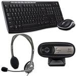 Ensemble sans fil souris + clavier (AZERTY Français) + Casque-micro + Webcam avec microphone intégré et compatible Facebook/Skype